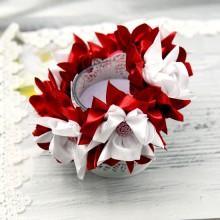 """Резинка на пучок 14 """" Розалина""""- ( темно-красная)"""
