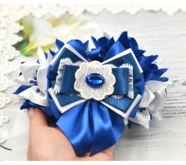 """Резинка на пучок 15 """"Розалина"""" - синяя"""