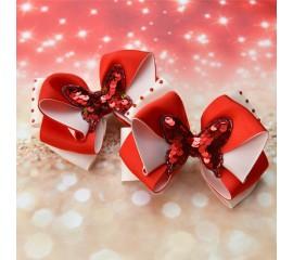 """Бантик 017 """" Красные бабочки""""- пара"""