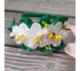 "Ободок 040 ""Белые цветочки"""