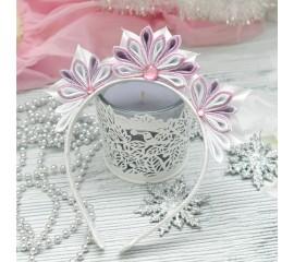 """Ободок 44 """"Снежинка розовая"""""""